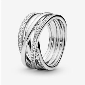 Pandora - Sparkling & Polished Lines-Entwined Ring